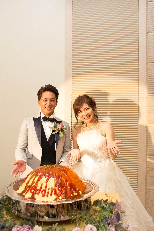 高松市の結婚式場アイルバレクラブの大きなオムライスと新郎新婦