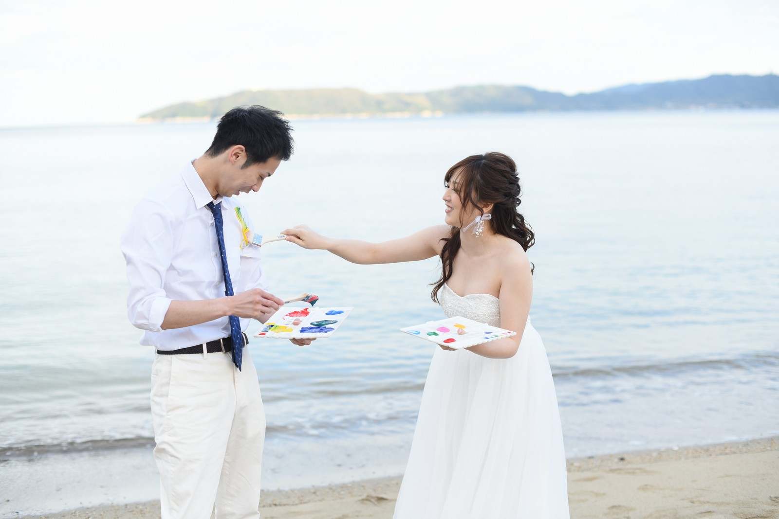高松市の結婚式場アイルバレクラブの海で前写し
