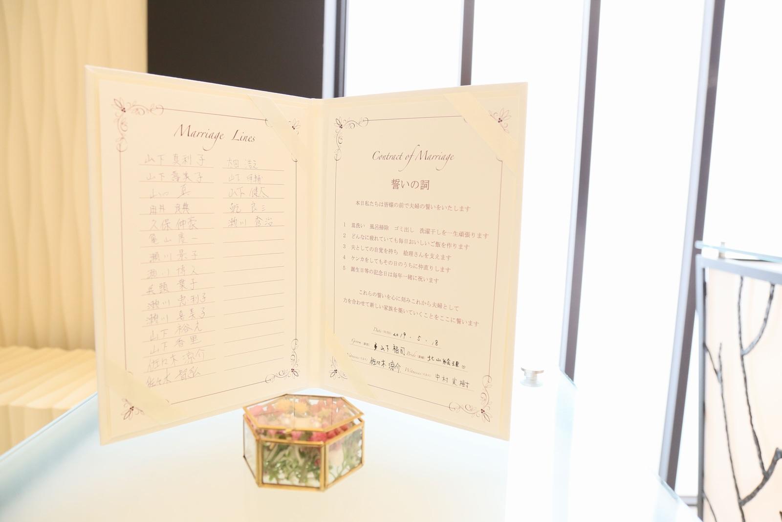 高松市の結婚式場アイルバレクラブの結婚式 結婚証明書に書かれているゲスト様皆様のサイン。